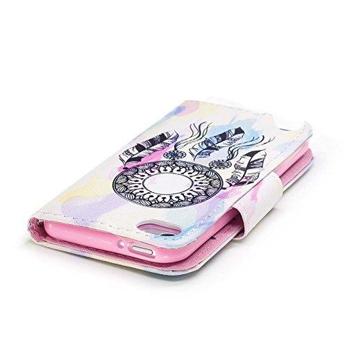 iPod Touch 6G Hülle,Ledertasche für iPod Touch 5, Aeeque Drucken Cute Tier Weiß Schwarz Katze Maus Muster Kartenfach Standfunktion PU Leder Flip Wallet Case Cover Handy Hülle Etui Abdeckung Handytasch Muster einfach Traumfänger