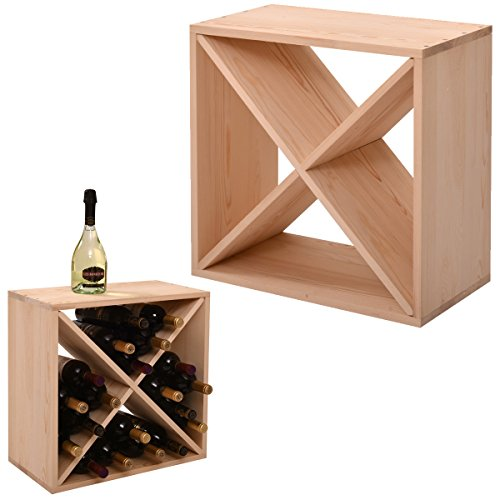 JAXPETY 24 Bottle Wine Rack Holder Compact Cellar Cube Bar Storage Kitchen Decor Wood Display Home,Natural (Kitchen Wood Wine Racks)