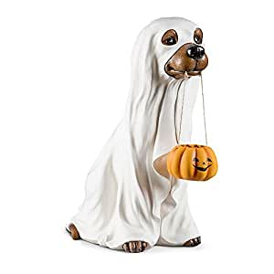 Whimsical Puppy Dog In Ghost Costume Halloween Sculpture Statue Outdoor Porch Decoration