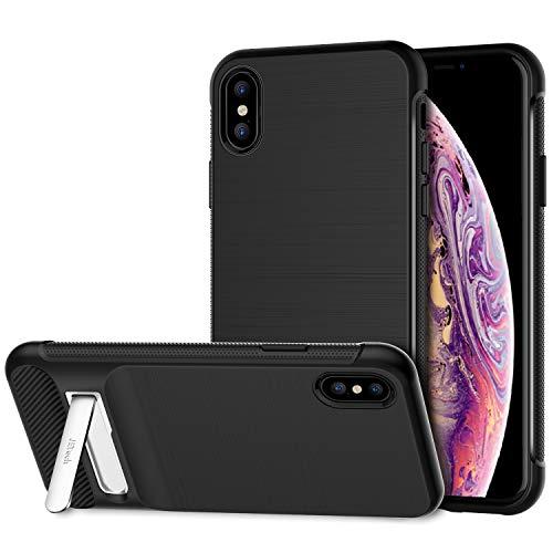 JETech Funda para Apple iPhone XS y iPhone X, Carcasa con Protección, Pata Metálica, Absorción de Impacto,Diseño de Fibra...