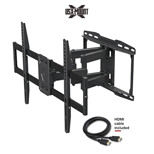 "USX MOUNT XML006K Full Motion Swivel Articu lating TV Wall Mount for 42-70 Inch LED, LCD, OLED, 4K TVs-Fits for 50, 55, 65 TV With VESA 200x100 to 600x400mm-Weight Capacity Up to 99lbs, Fits 16"" Stud"