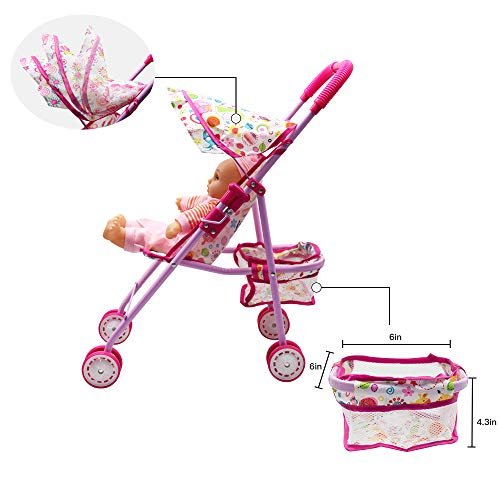 Annie's Collection Baby Doll Stroller with Doll, Foldable with Basket and Adjustable Hood for Girls Aged 1-2 Years Old by Annie's Collection (Image #4)
