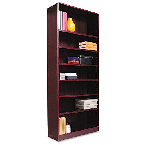 (Alera Radius Corner Bookcase, Finished Back, Wood Veneer, 7-Shelf, 36 W by 12 D by 84 H, Mahogany)