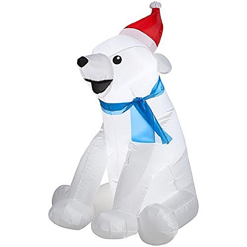 CHRISTMAS INFLATABLE BABY POLAR BEAR WITH SANT HAT