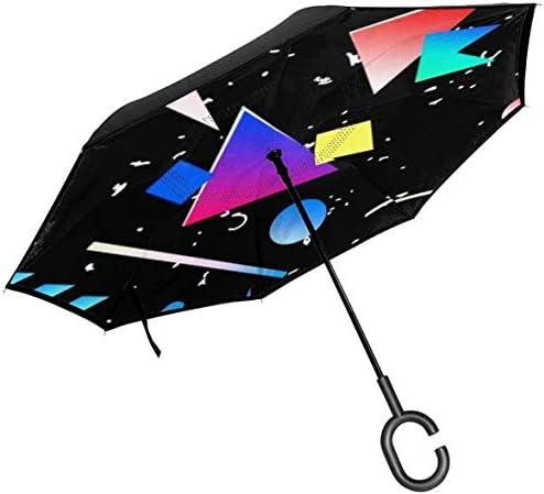 メンフィス ユニセックス二重層防水ストレート傘車逆折りたたみ傘C形ハンドル付き