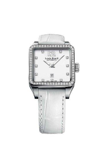 Louis Erard Women's 20700SE11.BAV10 Emotion Square Automatic White Alligater Leather Diamond Watch