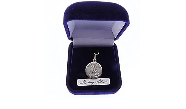 Michael velvet gift boxed medal 16mm Catholic Sterling silver 925 St