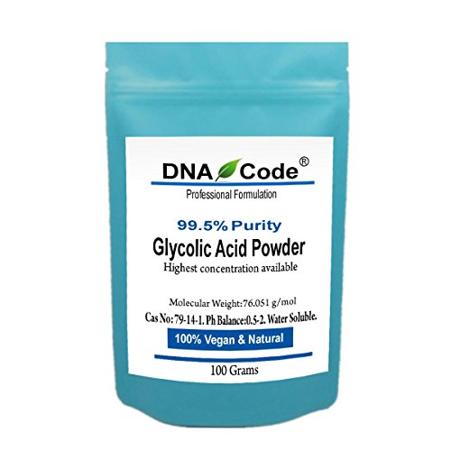 DNA Code- DIY Glycolic Crystal Powder 99.5% Purity, Cosmetic Grade. Make Your Own Peel and Mask. Add to Cream, Moisturizer... Acid 100 Grams Powder
