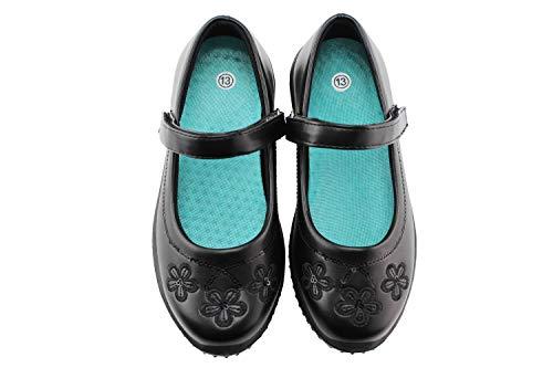 Jabasic Girls Mary Jane Dress Shoes Strap School Uniform Flats (3,Black-5) -