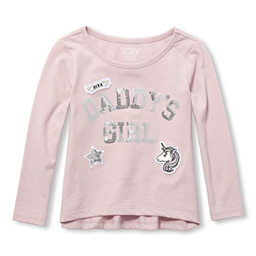 The Children's Place Girls' Toddler Long Sleeve Graphic Shirt, Haze 2T ()