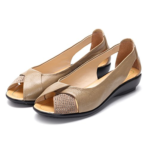 Gracosy Peep Toe Flat Shoes,Women's Classic Rhinestones Breathable Slip-On Loafer Casual Shoes Camel 7.5 B(M) US by Gracosy (Image #3)