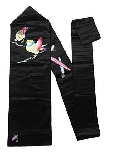 汚いふりをする拷問アンティーク 名古屋帯  刺繍 鳥の意匠 黒繻子 正絹