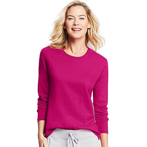 Hanes Womens Long-Sleeve Crewneck T-Shirt Sizzling Pink