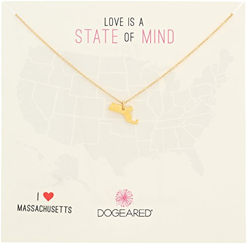 Dogeared State of Mind Massachusetts Gold-Plated Sterling Silver Chain Necklace