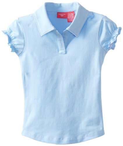 Gathered Blue (Dockers Little Girls' Uniform Short Sleeve Stretch Jersey Polo Gathered Sleeve, Light Blue, X-Large)