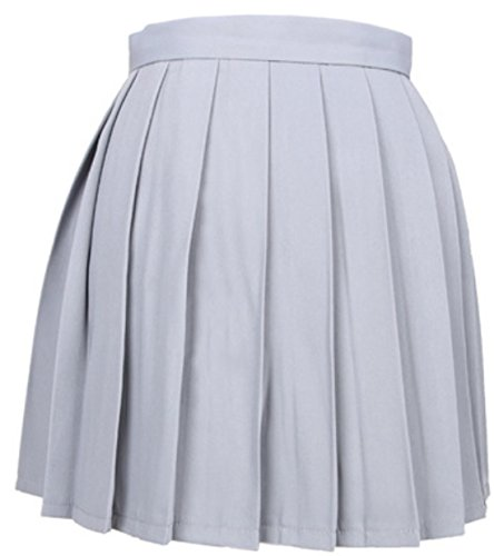 Haute Soire Couleur Plisse Unie Cocktail Taille Party Gris Clair de Mini Femme Jupes Gala Fashion Jupe Casual t 5x0f7Sqw