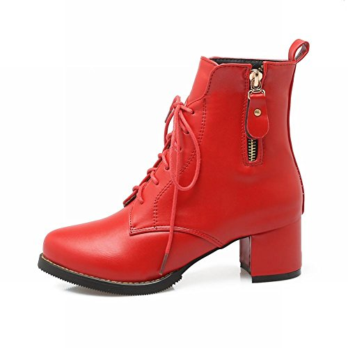 Biker Casual Carolbar Red Zip Boots Heel Mid Women's Short 5OwqPY
