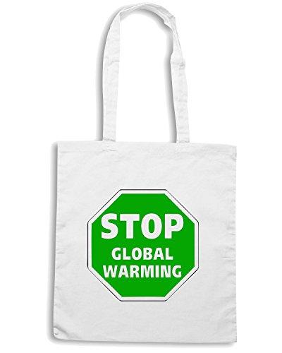 T-Shirtshock - Bolsa para la compra FUN0316 15t stop global warning decal 94978 Blanco