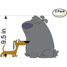 2 Stupid dogs 2 Stickers Huge 9.5 inches Cartoon Car Bumper Window Sticker Decal_2