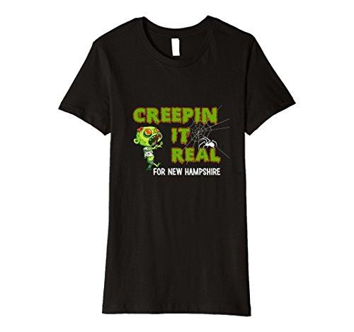 Ghost Bc New Costumes (Womens Creepin it Real for New Hampshire Funny Halloween T-Shirt Large Black)