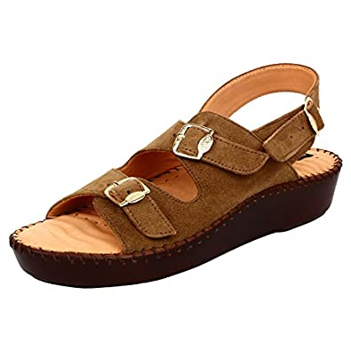 1 WALK DR Sole Orthotic Buckle and Back Strap 2017 Leather Collection for HER-Beige Women's Fashion Sandals at amazon