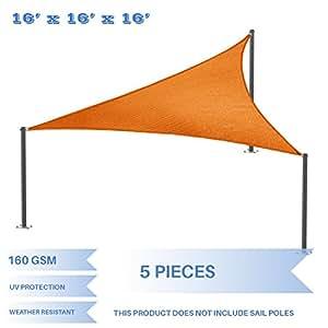 E&K Sunrise 16'x16'x16' Orange Equilateral Triangle Sun Shade Sail Outdoor Shade Cloth UV Block Fabric - set of 5