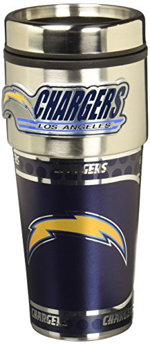 NFL Los Angeles Chargers Metallic Travel Tumbler, Stainless Steel and Black Vinyl, 16-Ounce from Great American Products