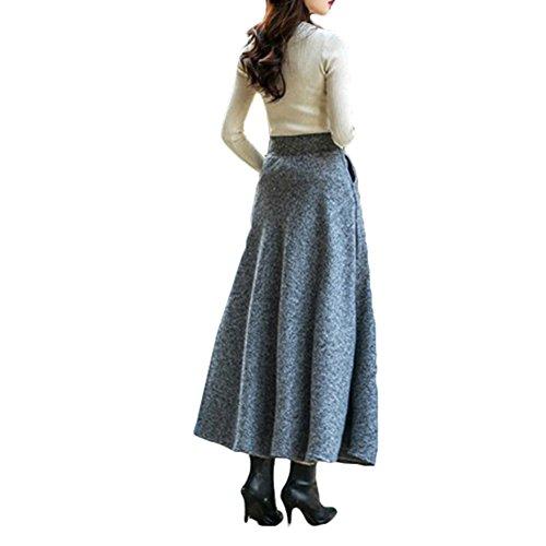 plisse Casual Scothen A hiver jupes de Automne long jupe Degr A taille vintage avec ligne jupe laine ligne haute de laine Femme Tellerrock Miniskirt haute taille jupes mlange Printemps BqWHTBr6w
