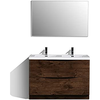 Eviva EVVN12 DS 48RSWD FS Smile 48  Modern Bathroom Vanity Set with Fitto Double Sink Ash Gray Wall Mount
