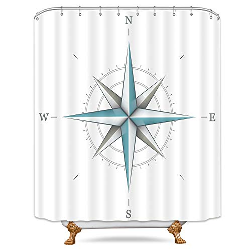 Riyidecor Compass Shower Curtain Nautical Directional Marine Instrument White Wind Rose Earth Illustration Guide Decor Bathroom Set Polyester Waterproof 72x72 Inch Free Plastic Hooks 12-Pack