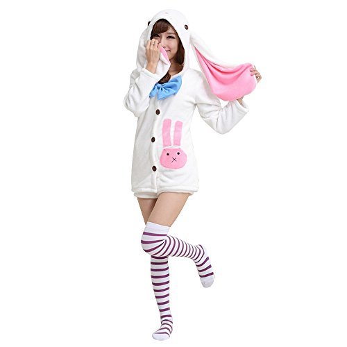 KINOMOTO Anime Costume Outfit Cosplay Rabbit Ears Hoodie Coat and Shorts Set (Top and Shorts) -