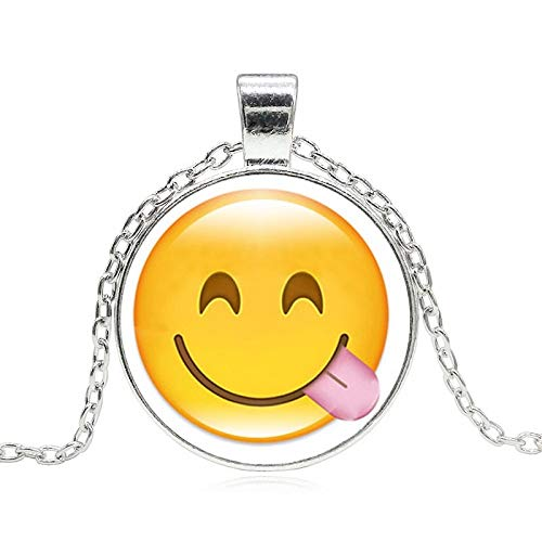 Davitu Creative Funny Emoji Glass Cabochon Pendant Silver Chain Statement Necklace Women Fashion Jewelry Party Gift Metal Color: Silver