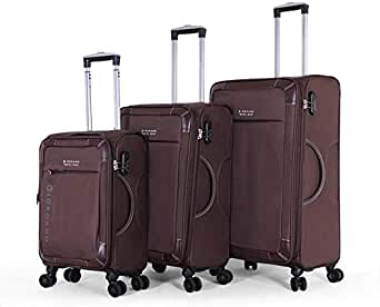 Giordano Luggage Trolley Bags Set, 3 Pcs With 4 Wheel, Brown - 18009, Unisex