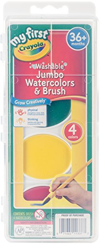 - Crayola My First Jumbo Washable Watercolors & Brush, 4 Classic Colors Non-Toxic Art Tools for Kids & Toddlers 3 & Up, Great for Preschools & Classrooms