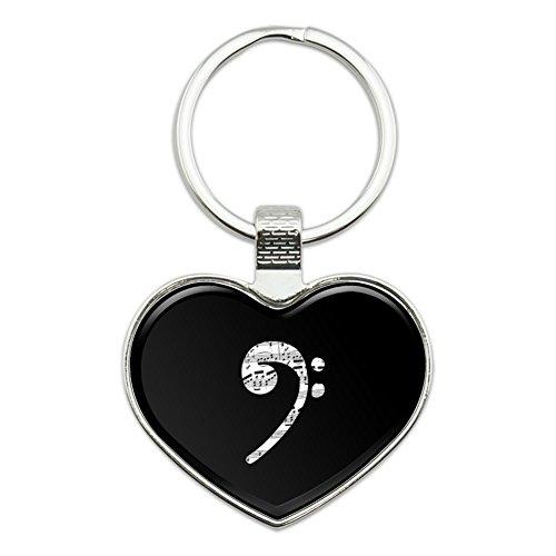 Sheet Music Bass Clef Music Heart Love Metal Keychain Key Chain Ring