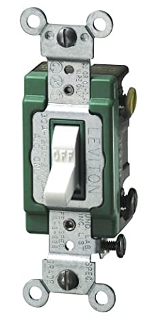 Leviton 3032-2W 30 Amp, 120/277 Volt, Toggle Double-Pole AC Quiet Switch, Extra Heavy Duty Spec Grade, Self Grounding, Back and Side Wired, White - Heavy Duty Pole