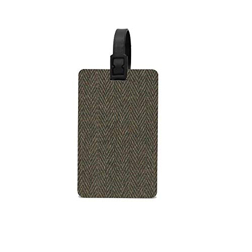 BeautyToiletLidCoverABC Herringbone Wool Tweed Fabric Luggage Tags For Suitcases PVC Baggage Cards ()