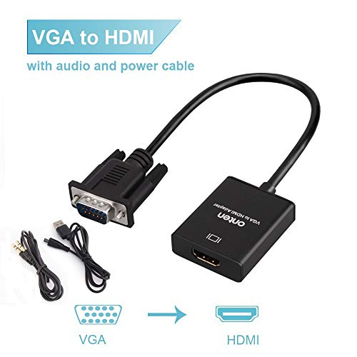 Onten VGA to HDMI Adapter, VGA Male to HDMI Female Cable Converter with 1080P HD Video and Audio Support for Connecting Old PC, Laptop with a VGA Output to New Monitor, HDTV ()