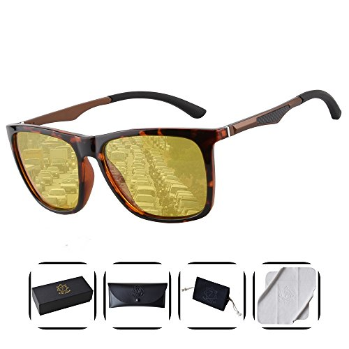 Heptagram Unisex Wafarer Mg-Al Hot Retro Ultra Light Sunglasses for Driving Fishing Golf Outdoor (Tortoise / Night - Best Sun Driving Into Sunglasses For
