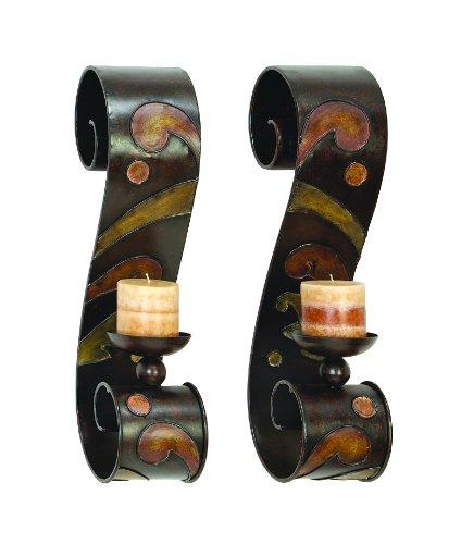 - Asher Home Decorators Benzara 13270 Set of 2 Candle Holder Metal Wall Decor Sculpture