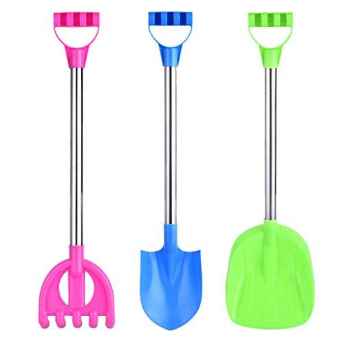 Hellofishly 3PCS Stainless Steel Kids Sand Shovels with Plastic Spade Handle , Suit Gift Set ,Kids Beach Sand Toys Tool Set, Gift Beach Toys Kit for Children
