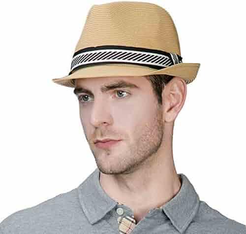 Jeff   Aimy Unisex Summer Straw Fedora Panama Beach Sun Hat for Men Women  Packable 55 918ac43e55f1