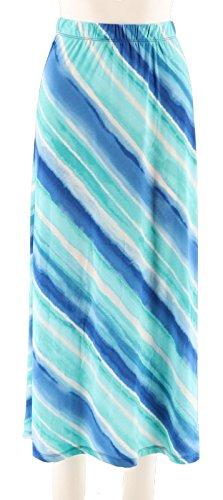 Susan Graver Printed Liquid Knit Maxi Skirt Petite A290786, Aqua, PXXS
