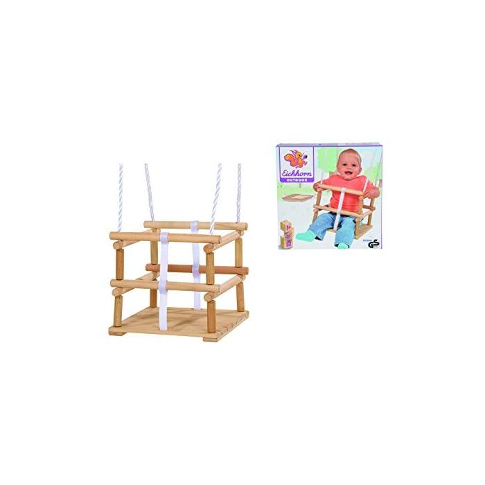 41r0pcB6J%2BL Hecha de madera El asiento tiene un tamaño de 30 x 30 cm La longitud de la cuerda es ajustable 140-210 cm y es adecuado para niños de un año y un máximo de 20 kg
