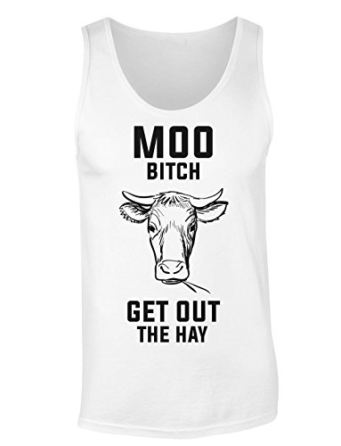 Moo Bi*ch Get Out The Hay Angry Cow T-shirt senza maniche per Donne Shirt