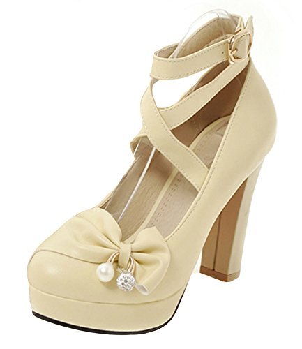 Easemax Womens Trendy Platform High Block Heels Pumps Shoes With Bow Beige Q9FYws