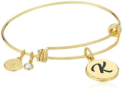 Halos & Glories, Initial K Shiny Gold Bangle Bracelet