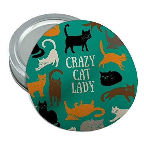 Crazy Cat Lady Teal Orange Black Brown Round Rubber Non-Slip Jar Gripper Lid Opener