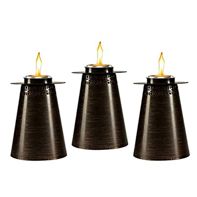 TIKI Brand 7.5-Inch Clean Burn Fire Pillar Metal Table Torch, Copper 3-Pack : Garden & Outdoor