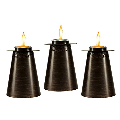 Torch Copper Table - TIKI Brand 7.5-Inch Clean Burn Fire Pillar Metal Table Torch, Copper 3-Pack